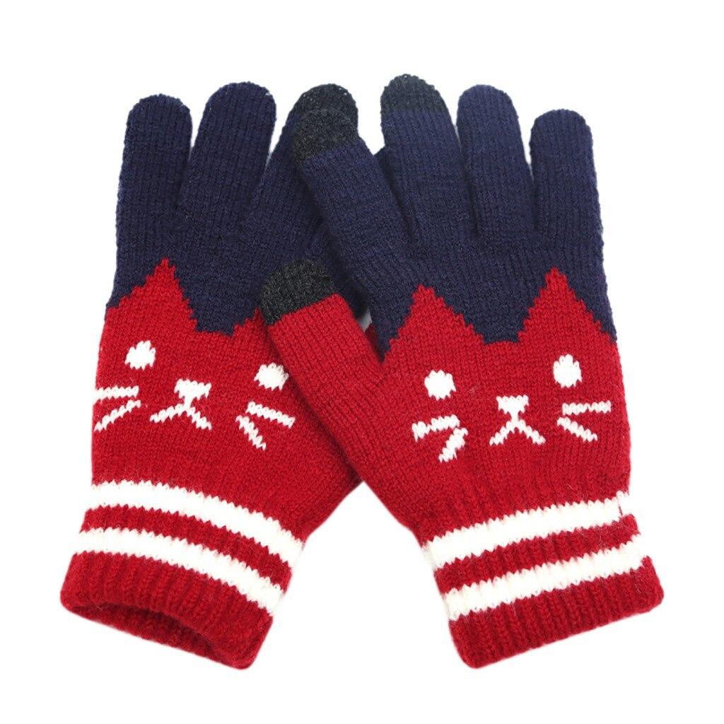 Sleeper #P501 2019 Fashion Womens Men Winter Cut Cat Knit Click Screen Full Finger Screen Warm Fleece Glove Luvas перчатки Gift