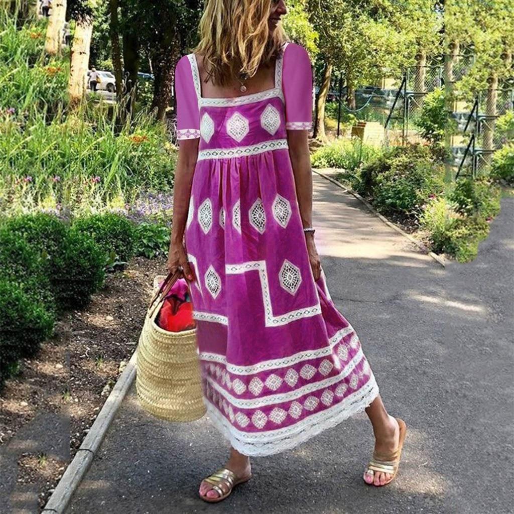 Beach Summer Dress Women Sundress Print Bohemian Maxi Dress Casual Women Long Dress Square Collar Print