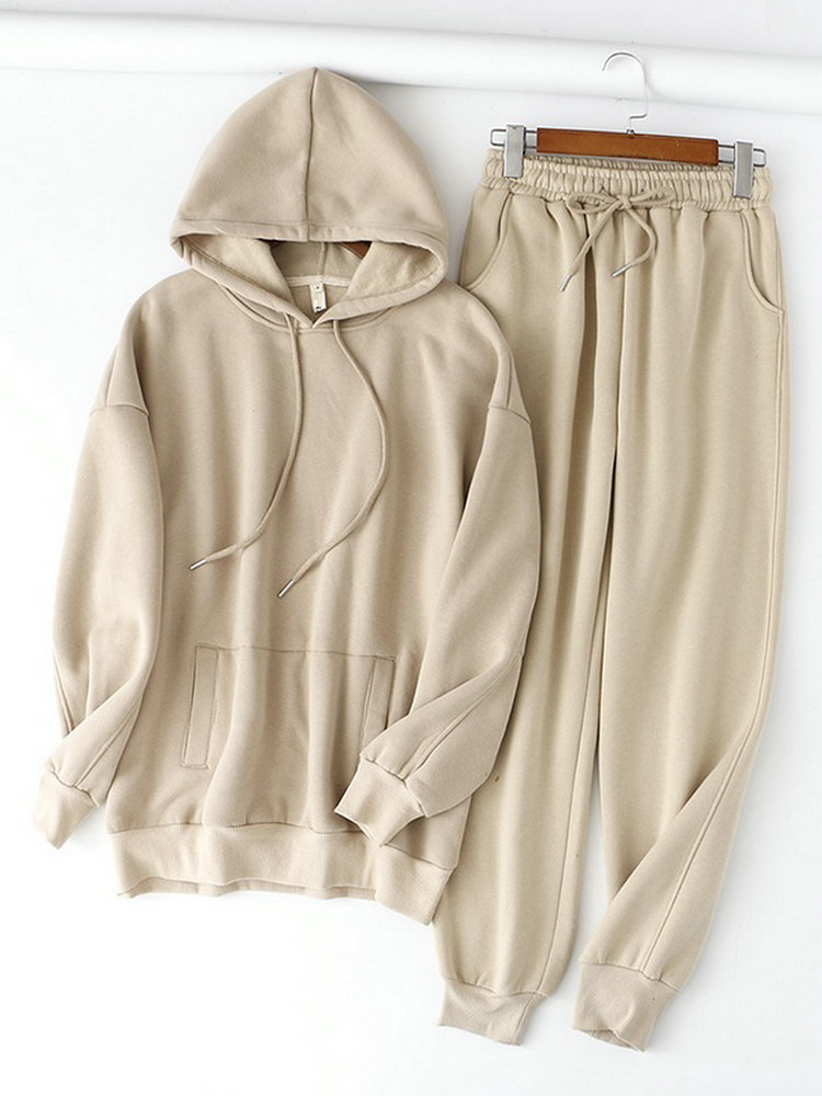 Pants Suits Sweatshirt Hoodies Tangada Fleece 2pieces-Sets Thick 100%Cotton-Suit Winter Women