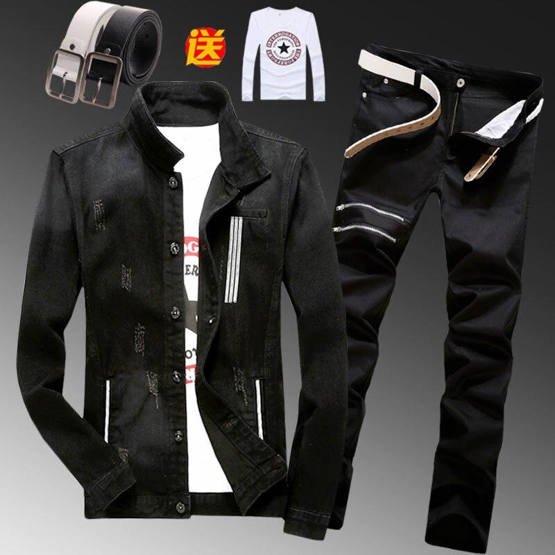 New Spring Mens Denim Jacket Pencil Pants 2pcs Set Blue Black Holes Jeans Trousers Casual Size M-3XL D34
