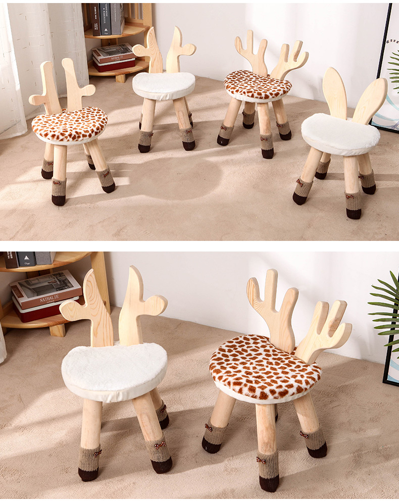 Wood Cartoon Chair Bench Deer Stool Chair Children Study Chair Baby Girl Dining Chair 27*27*42cm Kids Portable Rabbit Stool B590