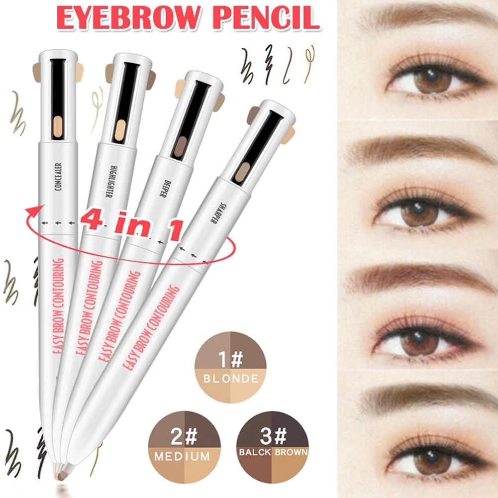 Waterproof Long Lasting Eyebrow Pencil With Four Color Rotary Bead Eyebrow Pen Four In One Four Core Eyebrow Pen Dropshopping