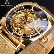 купить Forsining Golden Men Square Mechanical Watches Automatic Slim Dial Skeleton Stainless Steel Mesh Band Business Suit Montre Homme по цене 1432.24 рублей