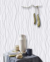 LUCKYYJ Peel and Stick Wallpaper Vinyl Self Adhesive Film Removable Silver Stripe Contact Paper Shelf Drawer Liner Wall Covering