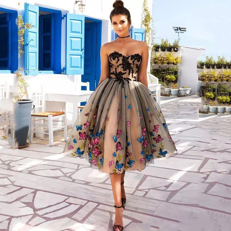Eightree Knee Length Prom Dress Colorful Butterfly Formal Dress Sweetheart Lace Appliques Party Gown Lace Up Evening Dresses