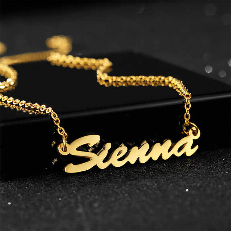 New Fashion Sederhana Warna Emas Colier Personaliser Wanita Pria Stainless Steel Collier Acier Inoxydable Kustom Kalung Perhiasan