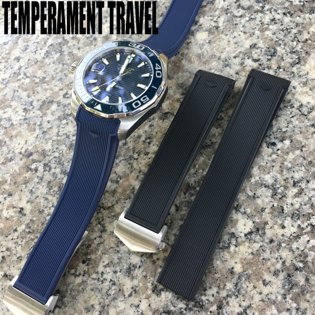 20mm 22mm Rubber Silicone Watch Strap Waterproof Bracelet Watchband for TAG HEUER AQUARACER 300 WAY201B CALIBRE 5 Accessories