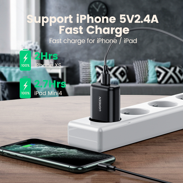Ugreen USB Quick Charge 3.0 QC 18W USB Charger QC3.0 Fast Wall Charger Mobile Phone Charger for Samsung s10 Huawei Xiaomi iPhone 4