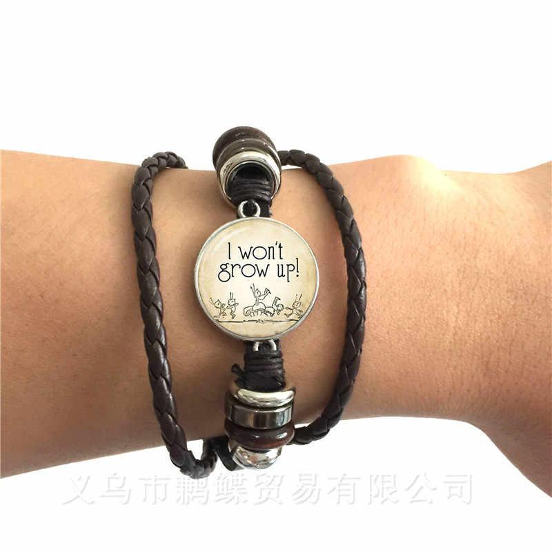 Glow In The Dark Peter Pan Armband U Kan Vliegen Sprookje Bangle Neverland Zwart/Bruin Lederen Armband Mannen vrouwen Kids Geschenken