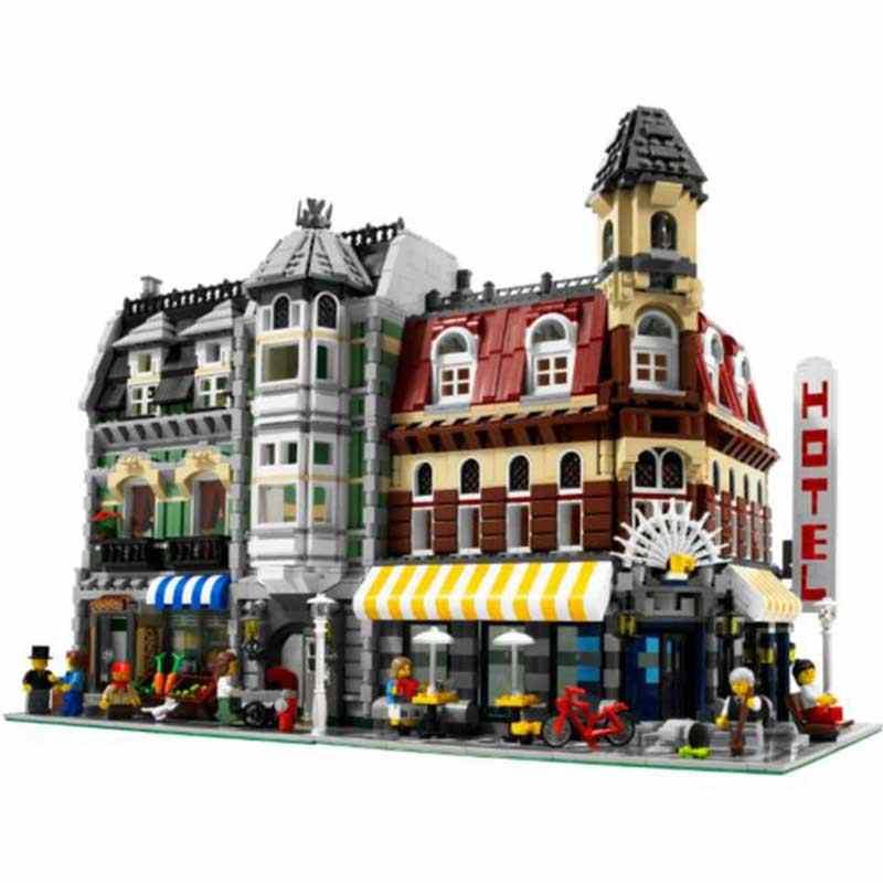 DHL Creator MOC ulica miasta widok Cafe Corner Hotel playmobil Lepinblocks 10182 zestawy oświetleniowe zabawki Lepining klocki cegły prezenty 15002