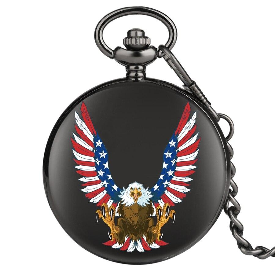 Uçan kartal abd bayrağı kuvars cep saati saat erkekler kadınlar siyah kasa kuvars Steampunk hediye öğesi cep saati 2020