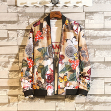 2019 Autumn Spring Thin Floral Jacket Men Streetwear Bomber Big Size Clothes