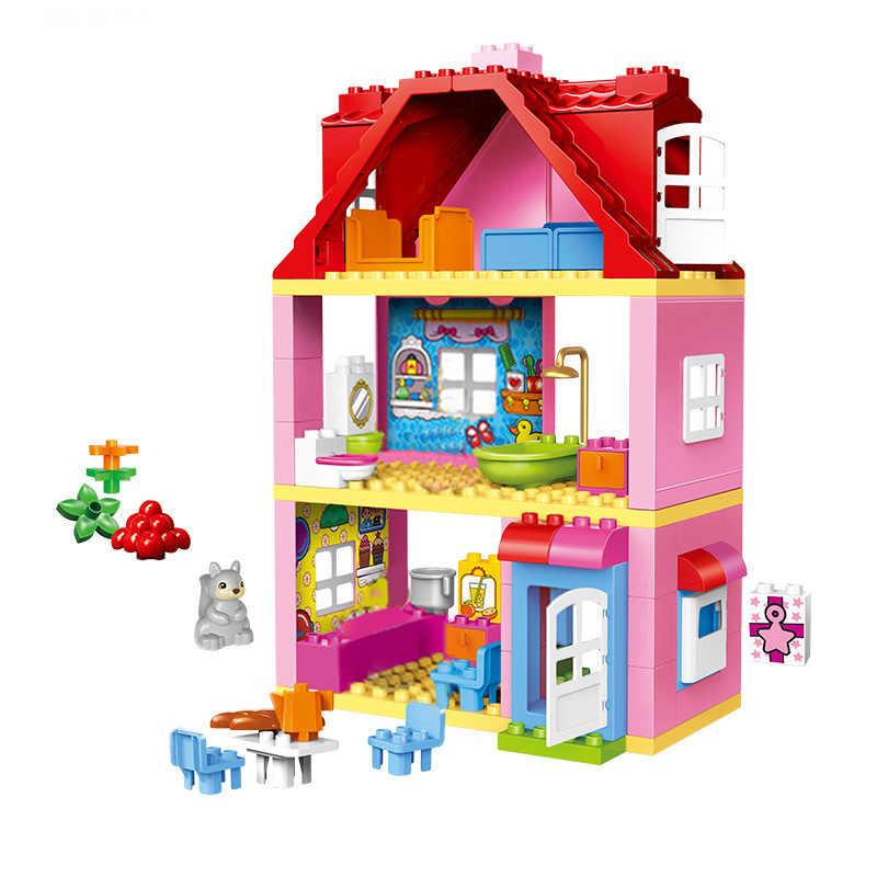 Meisje Prinses Grote Size Blokken Sets Compatibel Legoinglys Duploed Familie Huis Bricks Bricks Bouwstenen Speelgoed Voor Kinderen