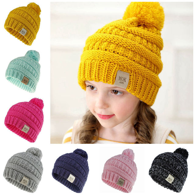 Kids Winter Hat Baby Pompom Hats Candy Soft Child Knitting Crochet Keep Warm Children Cap Unisex Skullies Beanies H200D