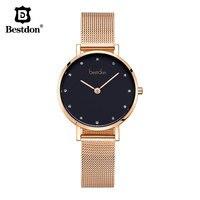 Bestdon Designer Brand Luxury Women Watches Diamond Minimalist Rose Gold Female Wristwatch Stainless Steel Small Quartz Watch