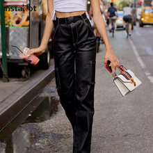 InstaHot Loose Wide Leg Pants Faux Leather PU Black High Waist Straight Women Pockets Autumn Streetwear Casual Trousers