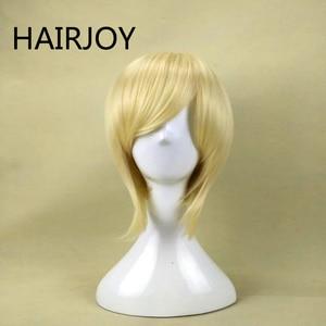 HAIRJOY синтетические волосы, короткий прямой фиолетовый парик для косплея, синий, блонд, зеленый, коричневый, 6 цветов на выбор, бесплатная дост...