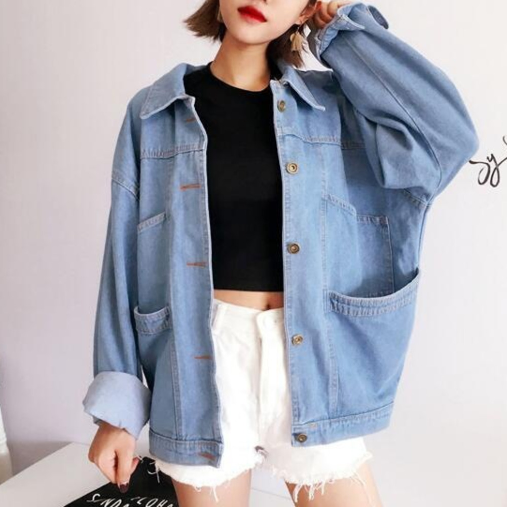 Oversized Blue Denim Coat For Women Spring Autumn Korean Style Bf Loose  Casual Jean Jacket Coat Female Outwear Clothes 8