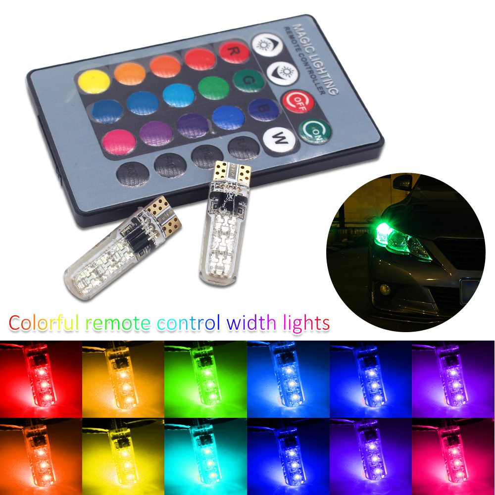 T10 RGB W5W Led 194 168 W5W 5050 SMD Car Dome Reading Light Automobiles Wedge Lamp RGB LED Bulb With Remote Controller