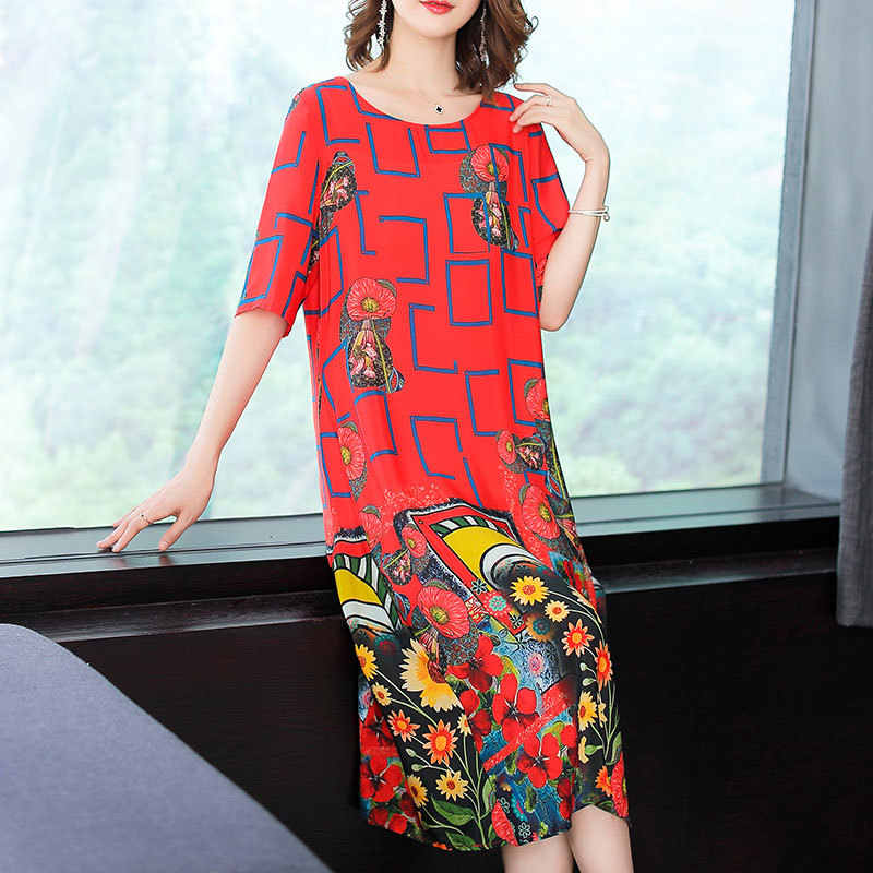 2020 여성을위한 여름 실크 드레스 패션 인쇄 붉은 꽃 드레스 캐주얼 드레스 비치 의류 vestidos 드 페스타 kj1848