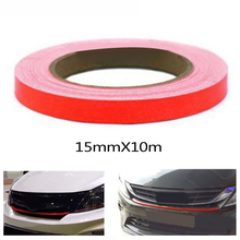 15mm X 10m Red Lining Reflective Vinyl Wrap Film Car Sticker Decal  Waterproof Anti-fouling And UV Resistant