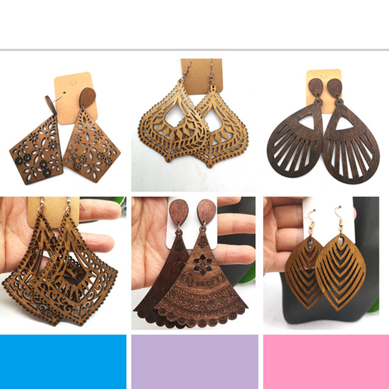 few stock!! Laser cut Wooden Earrings can mixed 6 designs