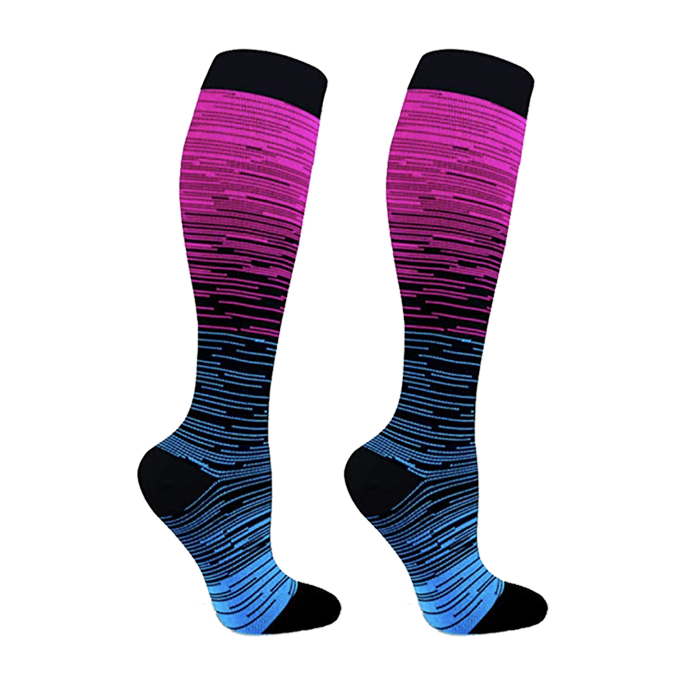 Men Professional Compression Socks Nylon Gradient Color Sports Sweat Absorbing Running Sock Knee High Sports Sock