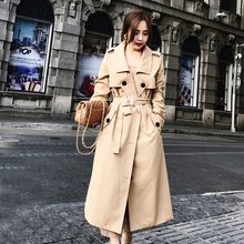 Women #8217 s Long Double-breasted Trench Solid Khaki Super Long Trench Coat Trench Coat Para Mulheres Women Elegant Trench HH50FY cheap yucheng Full Satin Casual COTTON Polyester Button Pockets Sashes Pleated Adjustable Waist women s fashion trench coat autumn
