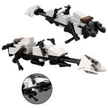 Star Space War białe miasto Speeder rower MOC klocki 61 sztuk DIY Model montaż cegieł klocki dla dzieci prezent
