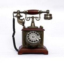 Antiguo teléfono giratorio Dial europeo Teléfono de cable vintage fijo con manos libres, auriculares colgantes para la oficina del Hotel en casa