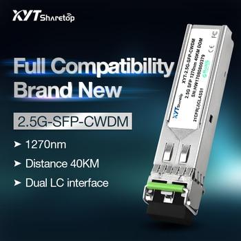 Sharetop 40km 2.5G CWDM optical transceiver module single mode dual fiber SFP-2.5G-CW 1270~1610nm full compatible sharetop 1 25g 1000m optical transceiver module multi mode dual fiber sfp 1000m 850nm 550m dual lc port full compatible