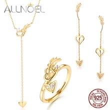 ALLNOEL White Zircon Gemstone Fine Jewelry Sets Diamond For Women Necklace Earrings 100% Sterling Silver 925 Gold Wedding Gift
