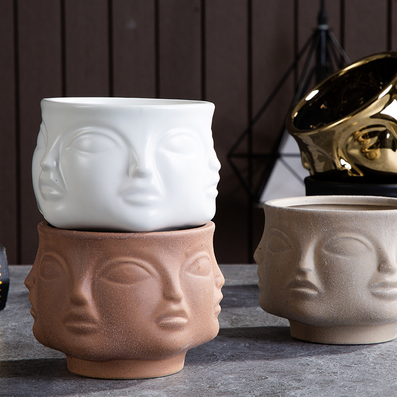 Nordic Ceramic Art Vase Sculpture Crafts Human Face Family Flower Pot Handmade Garden Storage Flower Arrangement Home Decors|Vases| - AliExpress