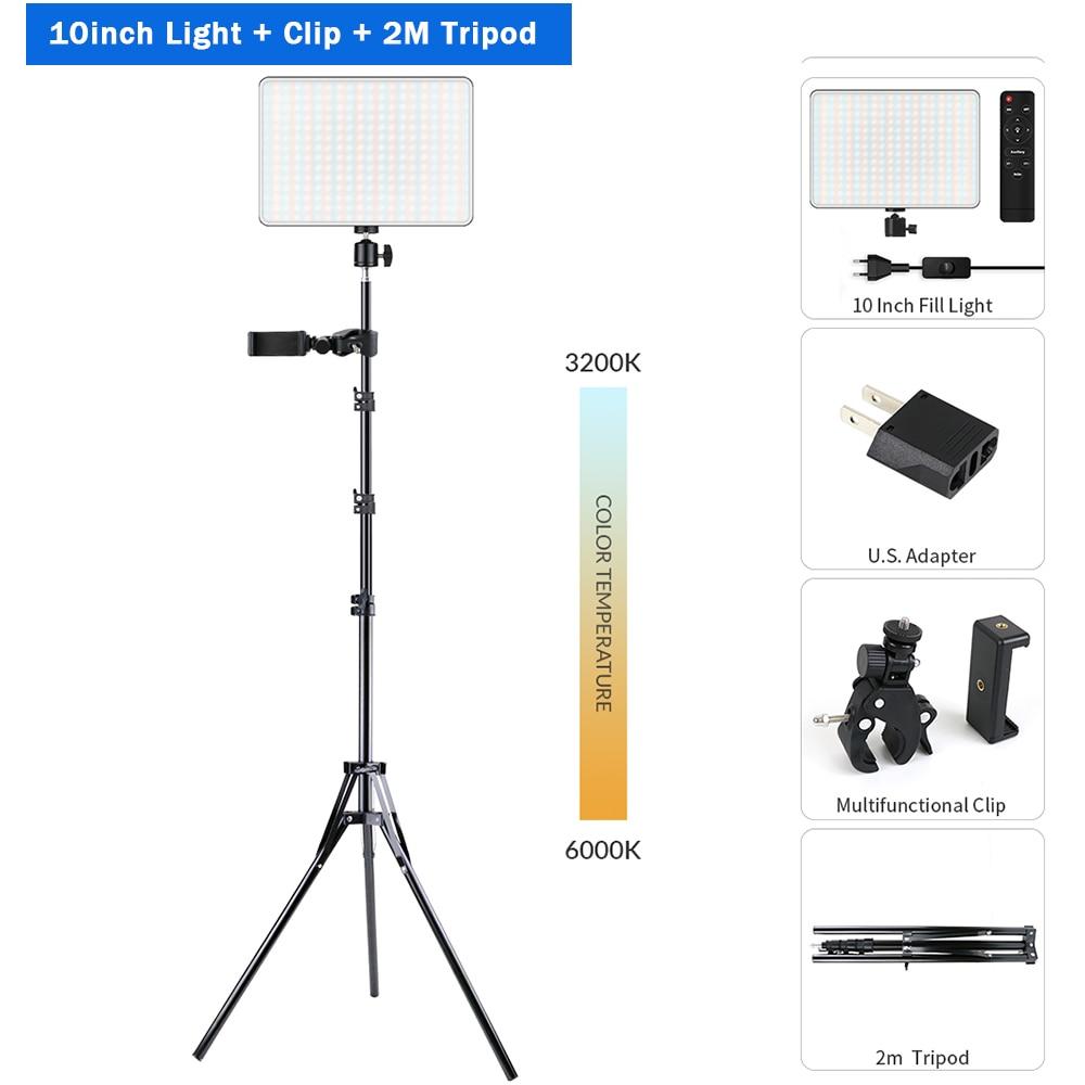 H5556f95c45614680b398a5d8a4773f94N Dimmable LED Video Light Panel EU Plug 2700k-5700k Photography Lighting For Live Stream Photo Studio Fill Lamp Three Color