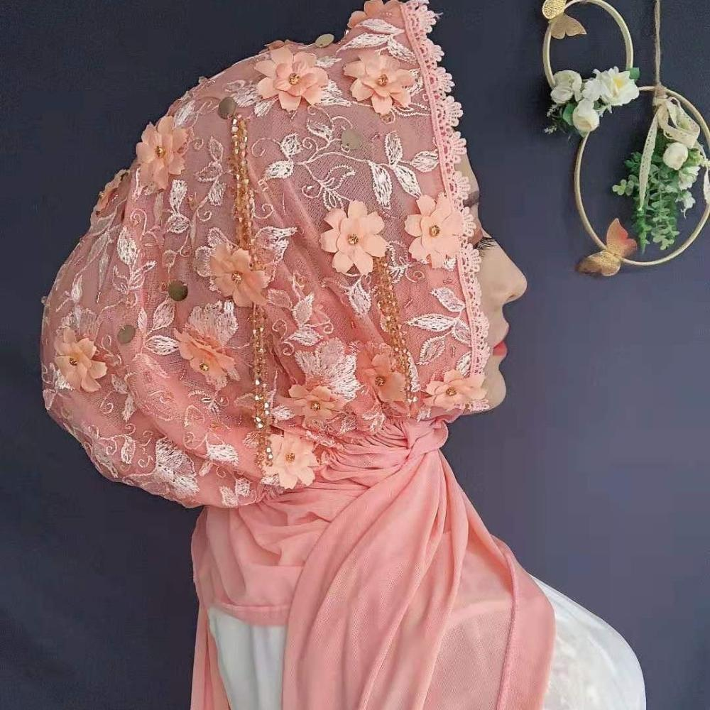 Dubai Muslim Women Head Cover Appliques Luxury Wedding Party Hijabs