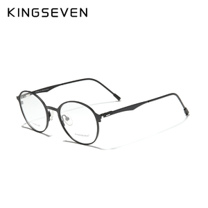 Image 4 - KINGSEVEN 2020 التيتانيوم مستديرة عدسات طبية إطار نظارات الرجال قصر النظر النساء وصفة طبية النظارات الذكور المعادن نظارات