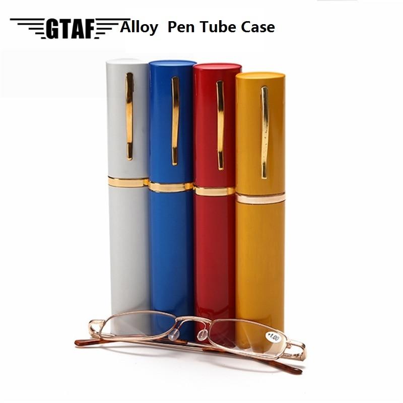 Portable Presbyopic Glasses Unisex Reading Glasses with Pen Tube Case Metal Case Spring Hinge Eyeglasses Gafas +1 To +4