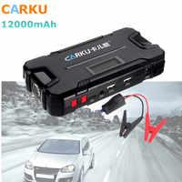 CARKU 12V 12000mAh voiture saut démarreur batterie Booster 600A lampe de poche LED QC3.0 double USB chargeur de batterie de secours batterie externe automatique