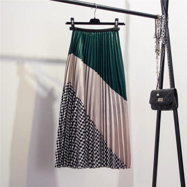 Marwin 2019 Spring New-Coming Europen Color Matching Plaid  Pleated skirt High Street Style Mid-Calf Empire Striped Women Skirts 1