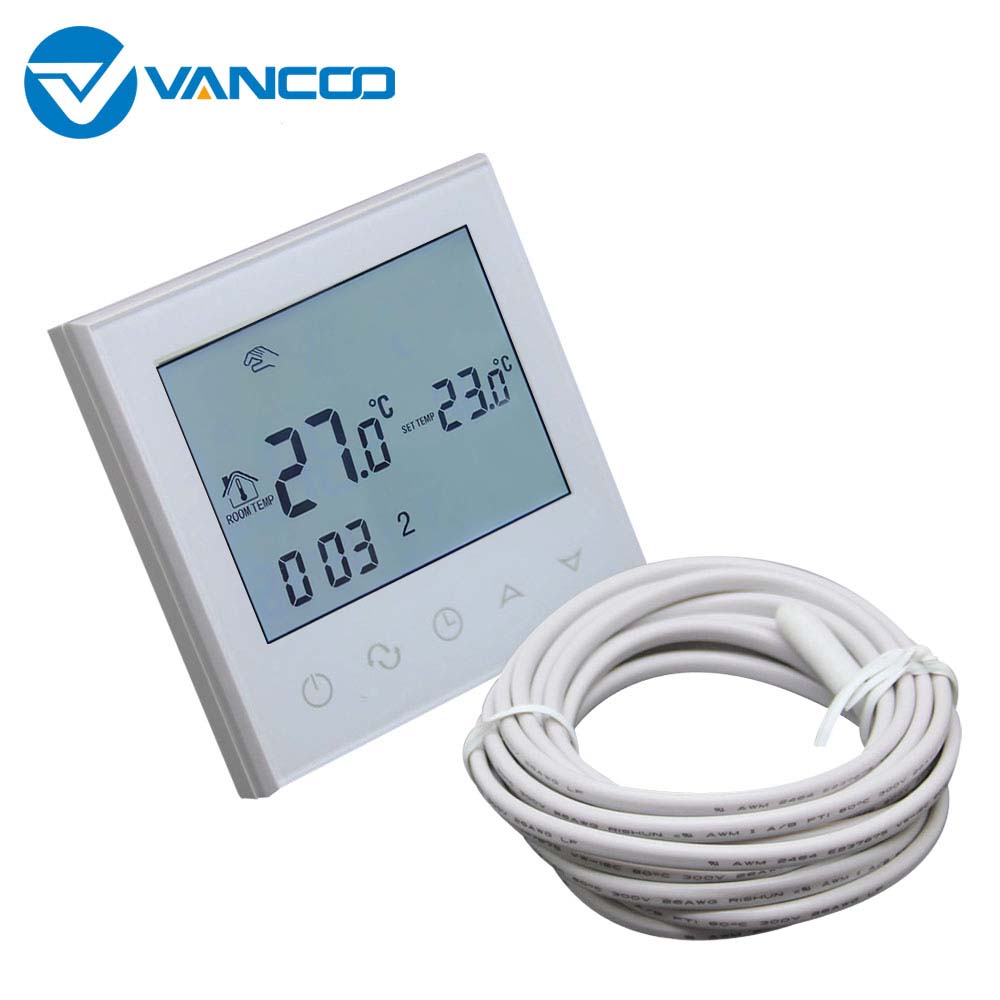 Vancoo Room Thermostat Temperature Controller Regulator Programmable LCD Display Screen Electric Underfloor Heating Thermostat