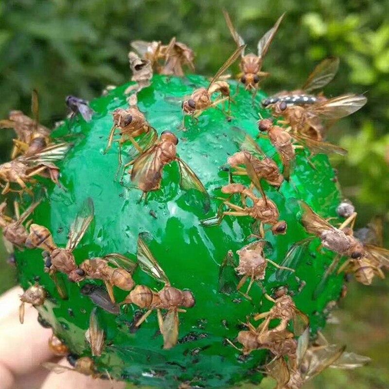 Yeni 1 adet asılı sinek kapanı topu meyve sinek yakalayıcı yapışkan tuzak Fly açık tek kullanımlık eşek arısı yapışkan tuzak ağaçları meyve koruyucu