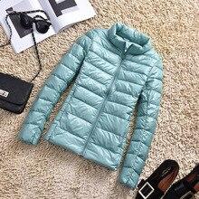Осенне зимнее пальто, ультратонкая Женская куртка, пальто с воротником стойкой, повседневное белое пуховое пальто, облегающие короткие куртки, Женская куртка 5XL