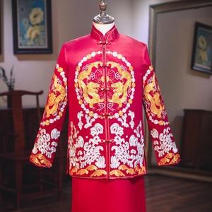 Image 3 - Terno Noivo Colete Gravata настоящий костюм Xiuhe для мужчин 2020 новая одежда для жениха китайские женатые мужчины предлагают великолепное платье костюм ветер