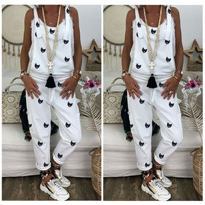 3 Colors Newest Arrivals Women's Casual Printed Strappy Baggy Loose Jumpsuit Female Summer Sleeveless Harem Long Playsuit s-2xl
