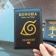 Travel Wallet Naruto Passports-Case Konoha Village Gold-Logo Hidden Leaf Mordor Black