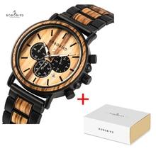 BOBO VOGEL Marke Metall Holz Männer Uhr Chronograph Quarz Bewegung Armbanduhr Kalender Zeitmesser Logo Anpassen Weihnachten Geschenk