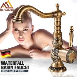 Quyanre Antique Brass Bathroom Basin Carved Faucet Long Nose Spout Wash Sink Tap 360 Rotation Single Handle Mixer Tap torneiras