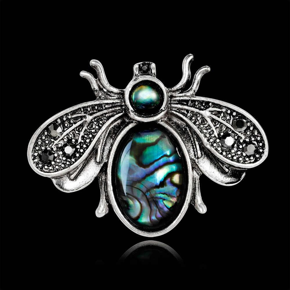 Desain Baru Lucu Trendi Sederhana Vintage Shell Kepribadian Lebah Bros Pin untuk Wanita Pria Fashion Serangga Korsase Perhiasan Aksesoris
