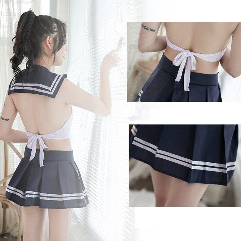 2 PCS Womens School Girl Costume Printed Uniform Top Skirt Set Erotic Underwear Cosplay HSJ88