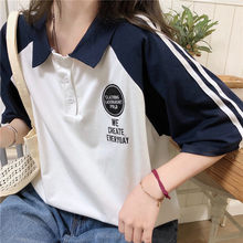 Harajuku Girls' College Short Sleeve Korean Polo Collar Women's T-shirt vintage Large Size Loose Female Tops Japanese tshirts(China)